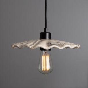 Kapok Marbled Ceramic Pendant Light 27cm, Powder-Coated Matte Black