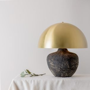 Lawson Ceramic Table Lamp with Brass Dome Shade, Black Clay