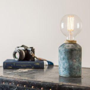 Bixa Small Ceramic Table Lamp, Blue Earth