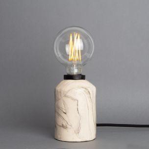 Bixa Small Marbled Ceramic Table Lamp, Powder-Coated Matte Black