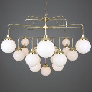 Rome Mid-Century Four-Tier Opal Glass Globe Chandelier, 21-Light