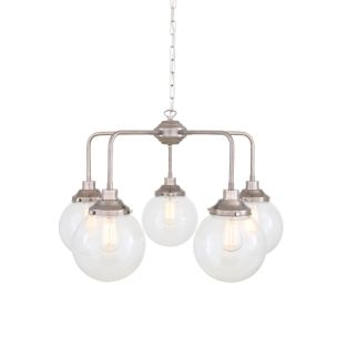 Rome Mid-Century Single Tier Brass Chandelier with Clear Glass Globe Shades, Five-Light