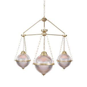 Blaenau Holophane Glass Polished Brass Chandelier, Three-Arm