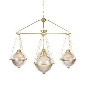 Blaenau Holophane Glass Polished Brass Chandelier, Four-Arm