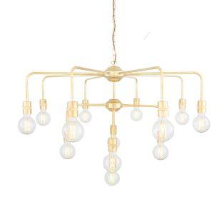 Pisa Three-Tier Bare Bulb Brass Chandelier, 13-Light