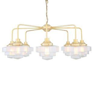 Siena Art Deco Single Tier Brass Chandelier, Eight-Light