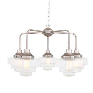 Siena Art Deco Single Tier Brass Chandelier, Five-Light