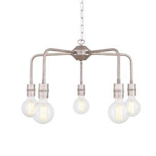 Pisa Single Tier Bare Bulb Brass Chandelier, Five-Light