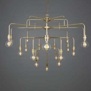 Pisa Four-Tier Bare Bulb Brass Chandelier, 21-Light