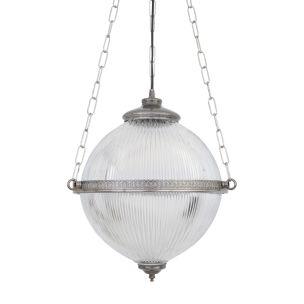 Blaenau Victorian Holophane Glass Pendant Light 30cm, Antique Silver