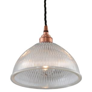 Boston Vintage Holophane Glass Pendant Light 20cm, Polished Copper