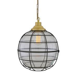 Hudson Vintage Glass Globe Cage Pendant Light 30cm, Satin Brass and Clear Glass