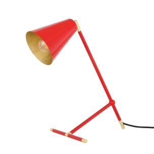 Santa Clara Modern Industrial Table Lamp, Polished Brass Trim and Red