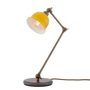 Nico Vintage Brass Table Lamp with Coloured Shade, Antique Brass and Yellow Shade