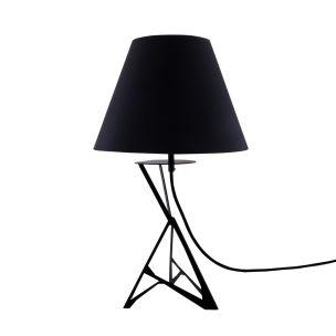 Geo Table Lamp with Stylish Modern Metal Base, Black Empire Fabric Shade