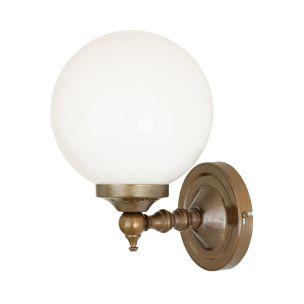 Cloghan Traditional Opal Glass Globe Wall Light, Antique Brass
