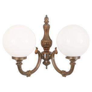 Ben Two-Arm Brass Wall Light with Opal Glass Globes, Antique Brass