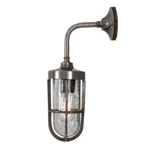 Carac Industrial Well Glass Outdoor Wall Light IP65, Antique Silver and Crackled Glass