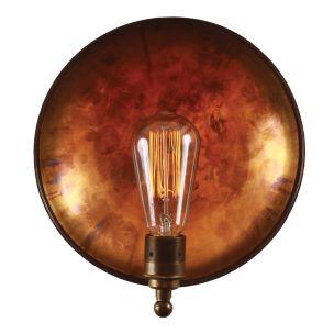 Cullen Industrial Brass Dish Wall Light 25cm, Antique Brass