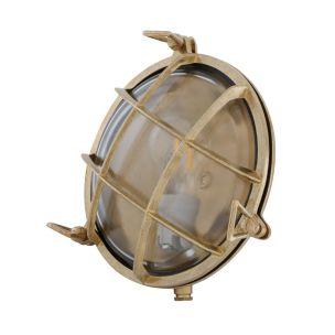 Adoo Nautical Round Bulkhead Wall Light 21cm IP54, Raw Brass