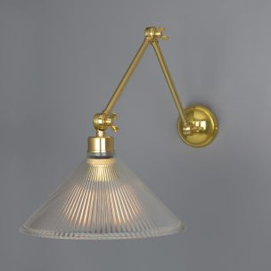 Rebell Coolie Prismatic Glass Adjustable Wall Light, Polished Brass