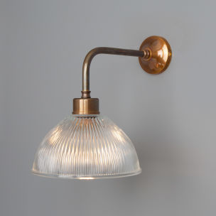 Dhaka Vintage Prismatic Glass Dome Wall Light, Antique Brass