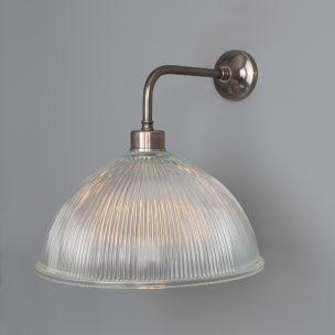 Nova Vintage Prismatic Glass Wall Light 30cm, Antique Silver