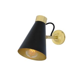 Preston Brass Wall Light with Adjustable Cone Shade, Powder Coated Matte Black