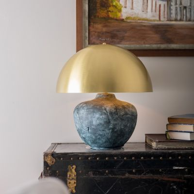 Lawson Ceramic Table Lamp with Brass Dome Shade, Blue Earth