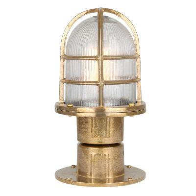 Tulia Brass Outdoor Column Pathway Light, Raw Brass