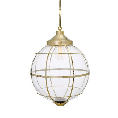 Henlow Clear Glass Globe Pendant Light with Brass Cage