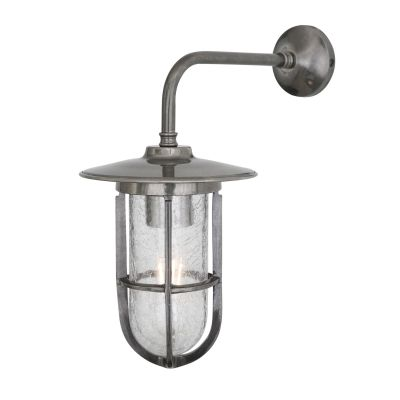 Lena Well Glass Bathroom / Outdoor Wall Light IP65, Antique Silver, Crackled Glass