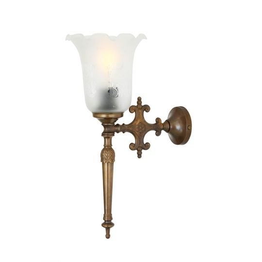 Allen Brass Wall Light with Etched Glass Shade, Antique Brass