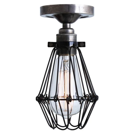 Apoch Industrial Cage Bare Bulb Flush Ceiling Light, Antique Silver