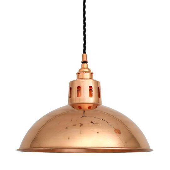 Berlin Vintage Dome Pendant Light 30cm, Polished Copper
