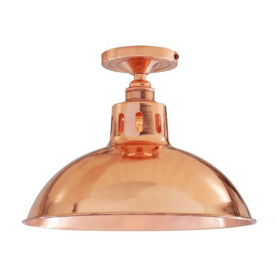 Berlin Vintage Copper Flush Ceiling Light 30cm, Polished Copper