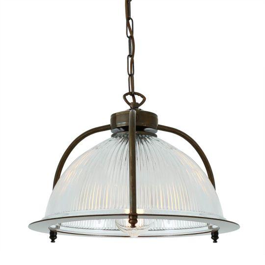 Bousta Industrial Holophane Glass Pendant Light 35cm, Antique Brass