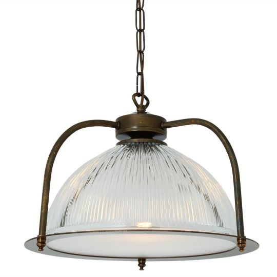 Bousta Holophane Pendant Light with Diffuser 35cm, Antique Brass