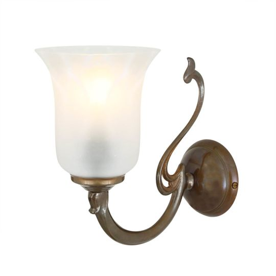 Brisbane Brass Wall Light with Etched Glass Shade , Antique Brass