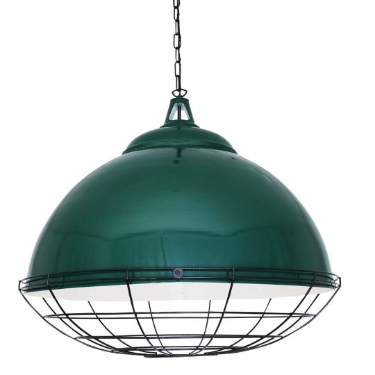 Brussels Large Vintage Cage Pendant Light 75cm, Racing Green and Black Cage