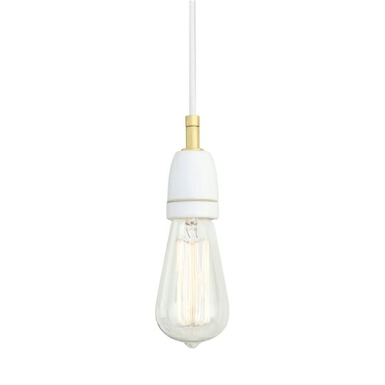 Caltra Modern Ceramic and Brass Pendant Light, Polished Brass and White