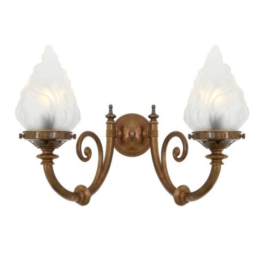 Darwin Two-Arm Wall Light with Flame Glass Shades, Antique Brass