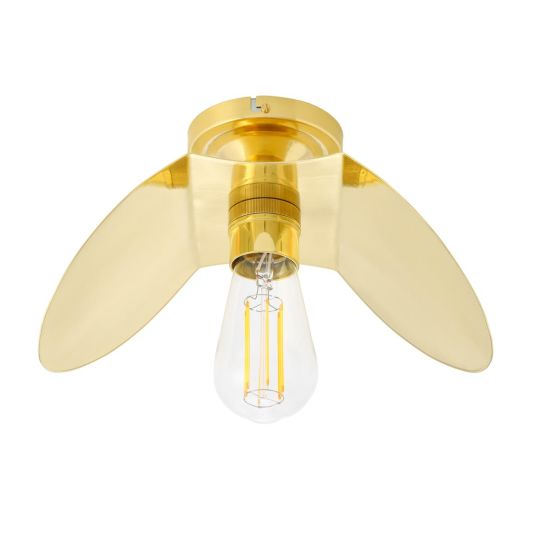 Dodoma Vintage Brass Shade Flush Ceiling Light, Polished Brass