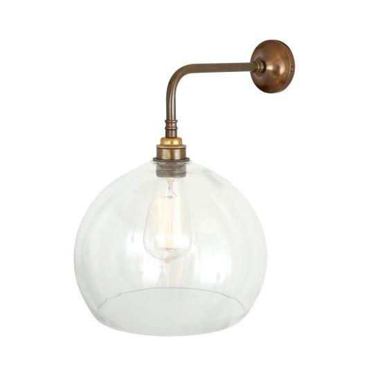 Eden Clearn Open Glass Globe Wall Light 25cm, Antique Brass