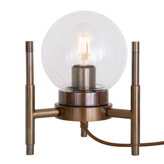 Eske Modern Brass and Clear Glass Globe Table Lamp, Antique Brass