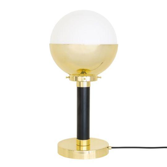 Florence Elegant Brass and Glass Globe Table Lamp, Opal Glass and Satin Brass/Matt Black