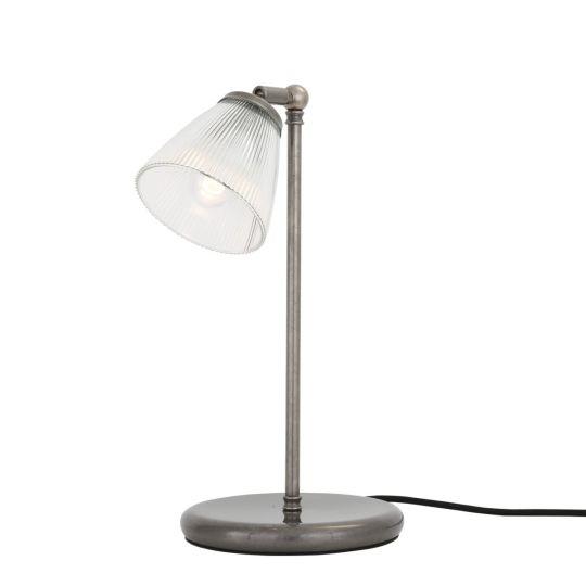 Gadar Industrial Holophane Glass Table Lamp, Antique Silver