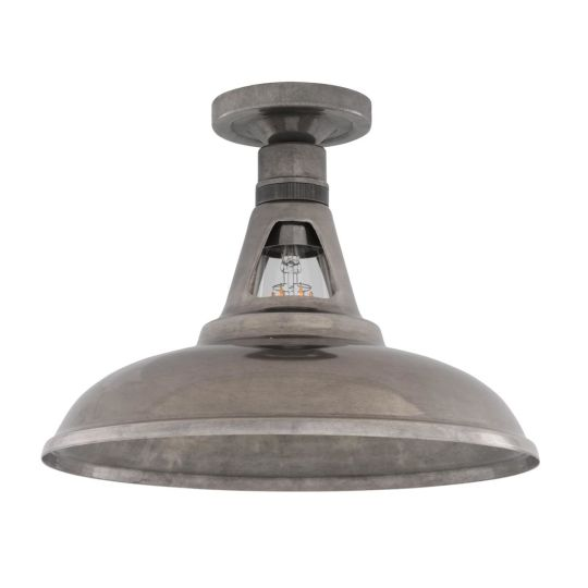 Geneva Industrial Vintage Flush Ceiling Light 30cm, Antique Silver