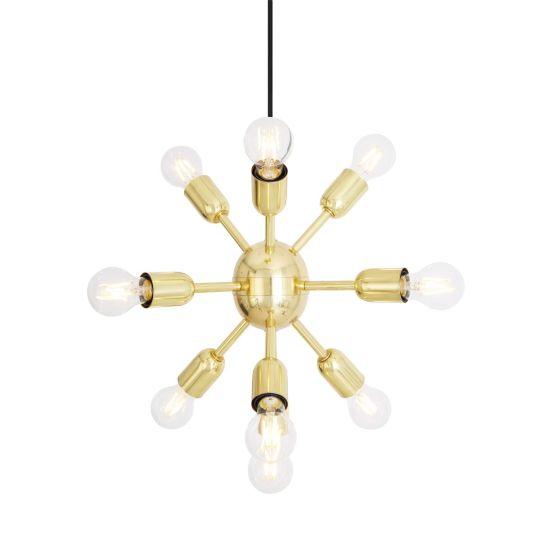 Glenties Small Brass Sputnik Chandelier, 10 Light