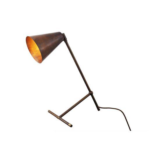 Havana Modern Industrial Desk Table Lamp, Antique Brass